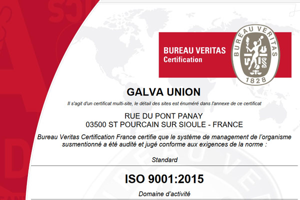 Certifications en galvanisation